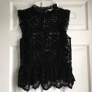 Tops - Velvet lace top with ruffles